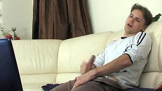 Hot blonde mom caught son jerking off and had sex with him