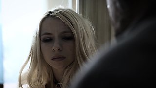 Pretty blonde daughter punished by an angry stepdad
