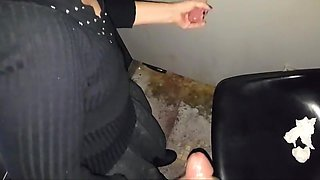 Gf jerking a hot cock at the glory hole