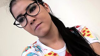 Cute Teen In Glasses Sucks Like A Slut