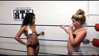 Interracial catfight wrestling black vs white