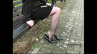Blonde Iona tempting you in her stylish high thin stiletto heels to get your fetish up