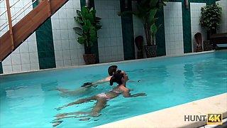 HUNT4K. Sex adventures in private swimming pool