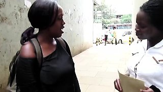 Black African babes Faida and Kali meet on street and