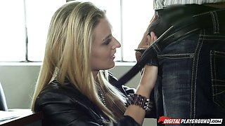 Leather jacket looks good on Natalia Starr as she sucks dick
