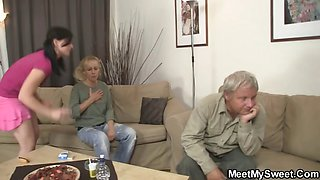 GF have fun with her BF\'s mom and dad