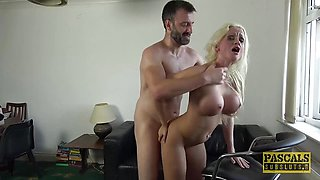 Hot Busty British bimbo drilled hard in all of her holes