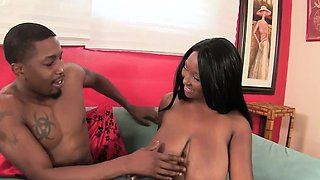 Big titted ebony plumper beauty sucks on a dude's dick and