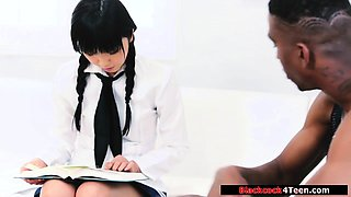 Sexy japanese teen fucked by a black transfer student