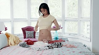 Dark haired Jade Kush gives not only titjob but also awesome footjob