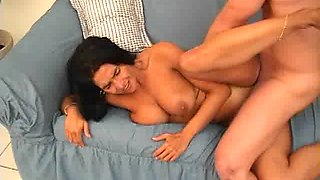 Awesome cock-sucking brunette and two cocks