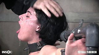 Short haired brunette Olive Glass face and pussy abused by a big dick