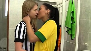Teen from behind Brazilian player pounding the referee