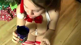 Kinky young slut satisfies her wild desire for piss and cum