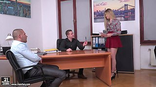 Russian secretary in short skirt Selvaggia is fucked by her boss and his partner