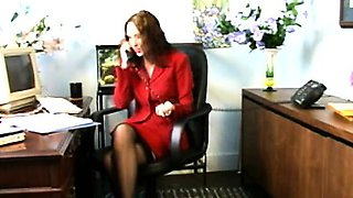 Sexy secretary gets horny at work and takes a break to finger herself