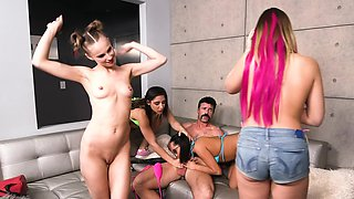 Wild fivesome fucking with four girls and a lucky man