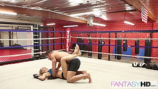 Beauty in the boxing ring fucking her training partner