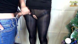 (60FPS) HANDJOB CUM ON PUSSY SEXY SECRETARY IN NYLON PANTYHOSE - SANYANY
