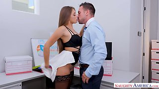 Torrid secretary Gia Derza is fond of being fucked right on the table