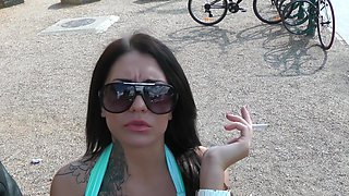 Stunning brunette Erika-Bellucci is smoking and sucking
