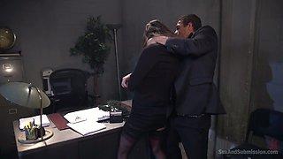 Horny curvy secretary Kacie Castle gets bent over the table and fucked hard