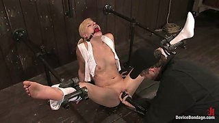 Pigtailed Blonde Ally Ann Dominated in Bondage and Toying Session