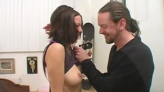 Cute brunette with a smoking hot body films her first porno with her boyfriend