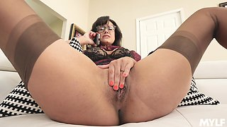 Solo model Penny Barber licks her tits and plays with pussy