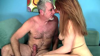 Chubby redhead nympho wants his old man cock