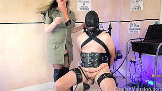 Femdom Mistress Wanks Slave Cock