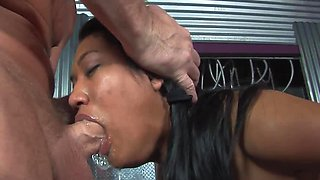 Japanese bimbo is sucking dick and getting semen in her mouth