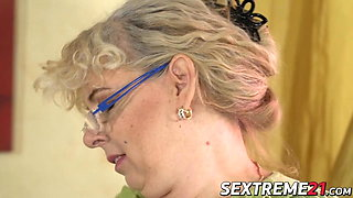 Perverted young guy has his way with chubby mature woman