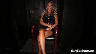 sexy blonde princess loves the taste of strangers cocks in random gloryhole