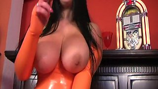 Orange Rubber Smoking Blowjob Handjob - Cum on my Rubber Tits