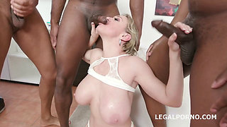 Big tits mature chick spreads wide for double assfuck