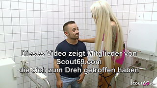 Freaky Midget Dwarf Fucks Sexy German Teen on Public Toilet