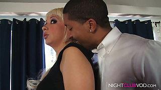 Black BBC guy fucks Blond Milf with Wet pussy