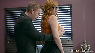 Secretary Lauren Phillips comes in seamed stockings to work earns a facial