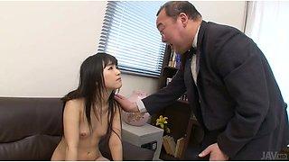 Whorish Asian secretary Tsuna Kimura swallows tiny cock of her boss