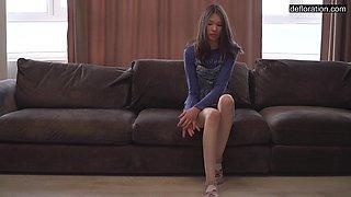 Super skinny student Ilonka Csont shows beautiful virgin pussy