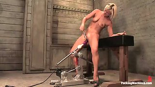 blonde in high heels gets machine banged