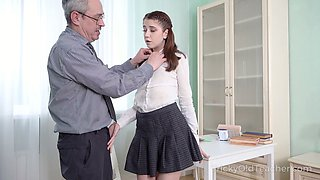 Nice sophomore student Alita Angel loses anal virginity with old teacher