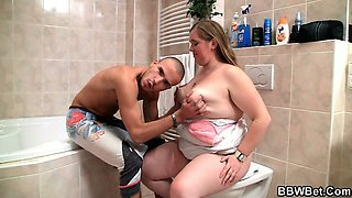 Chubby bitch gets nailed in the bathroom