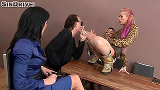 Guy in sunglasses gives the three horny ladies a good drilling