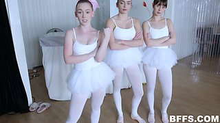 Three ballerinas enjoy having dirty sex with one horny stud