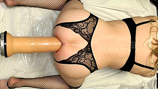 Sissy fucking 14 inch dildo and dreaming of full insertion