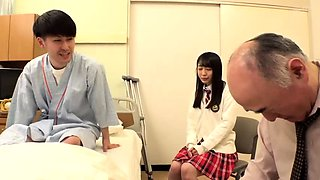 Pretty Japanese schoolgirl finds herself in a wild threesome