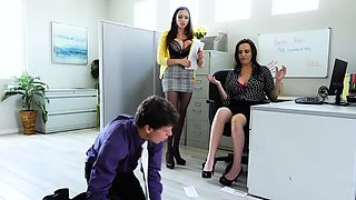 A hot and steamy threesome in the office