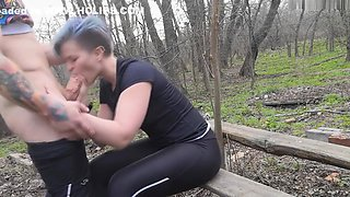 Public Sex and Blowjob in the Woods - Extreme Teen Sex